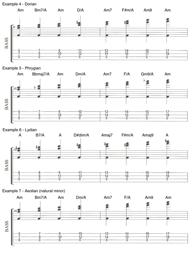 Examples 4, 5, 6 & 7 Chords on the Bass