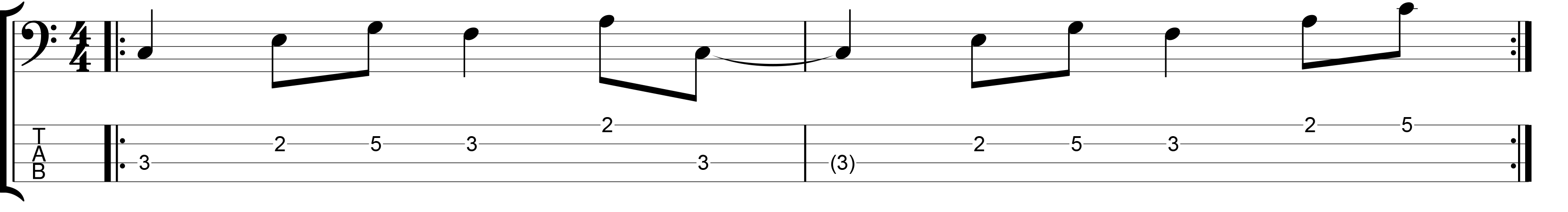 Bass line with an eighth note Feel