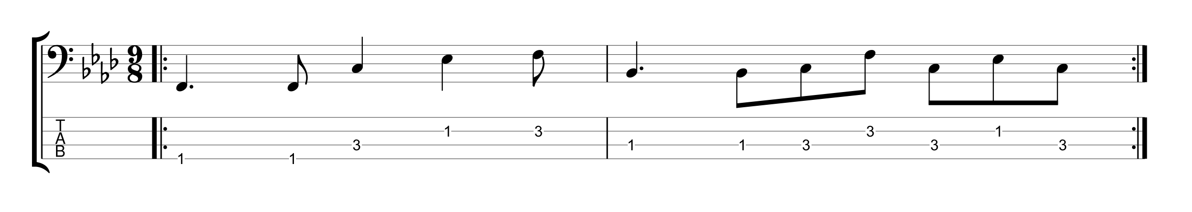 9/8 Time Signature Bass Groove Example 2