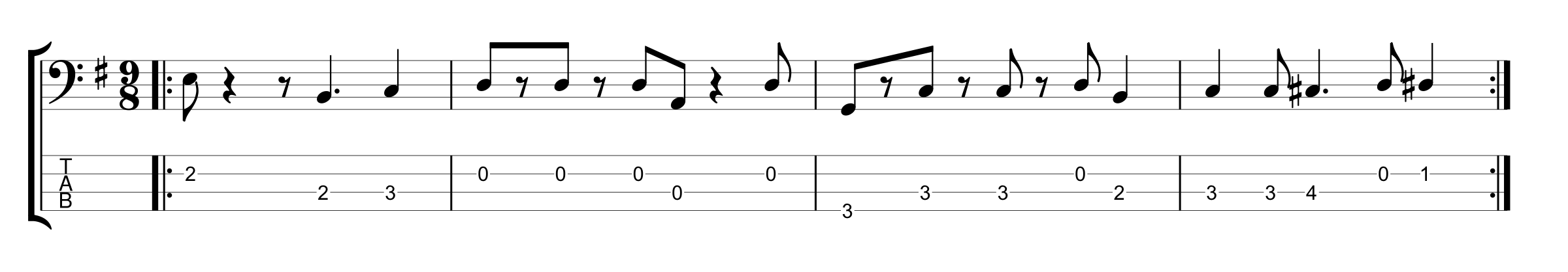 9/8 Time Signature Bass Groove Example 3