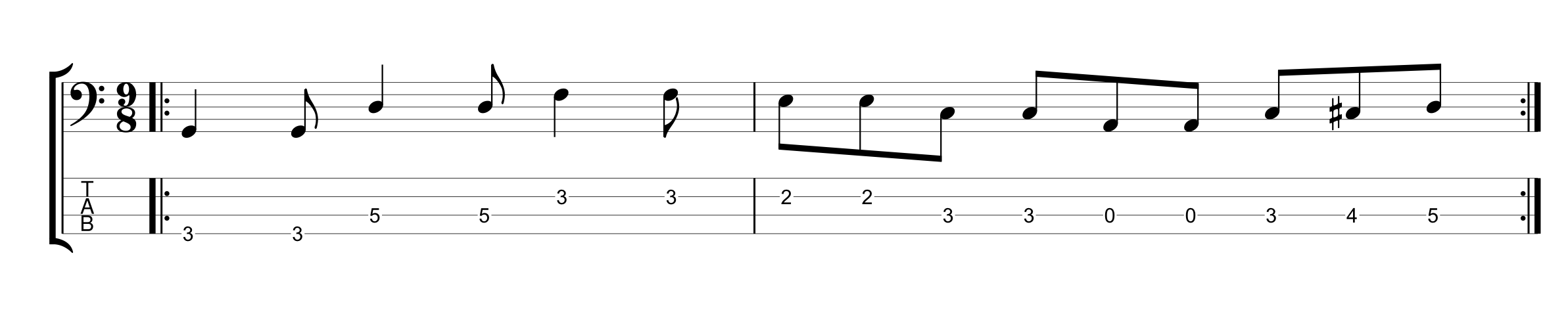 9/8 Time Signature Bass Groove Example 1