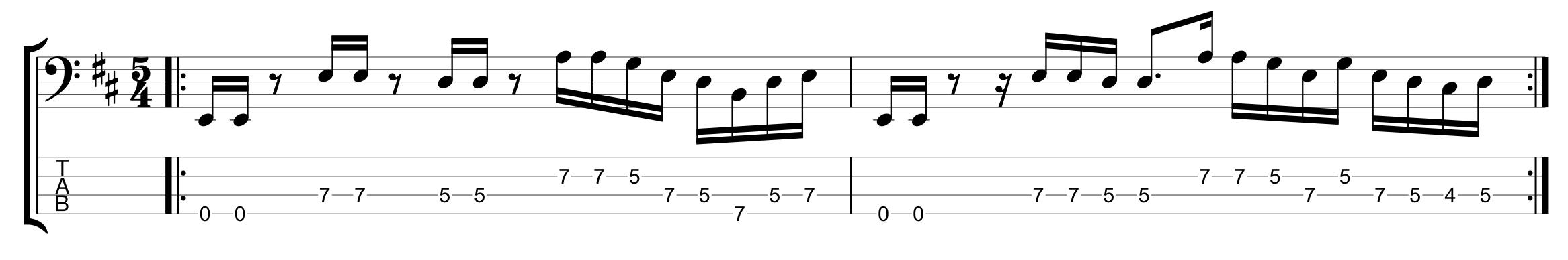 Odd Meter 5/4 with a 16th note feel