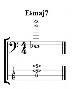 Ebmaj7 Voiced Using Natural Harmonics