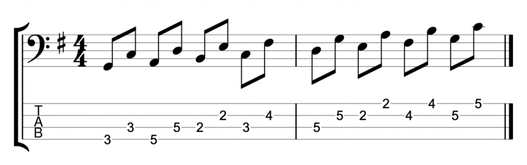 G major scale in 4th intervals
