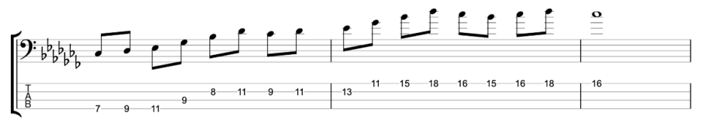 Cb major 9th arpeggio on a Dbsus chord
