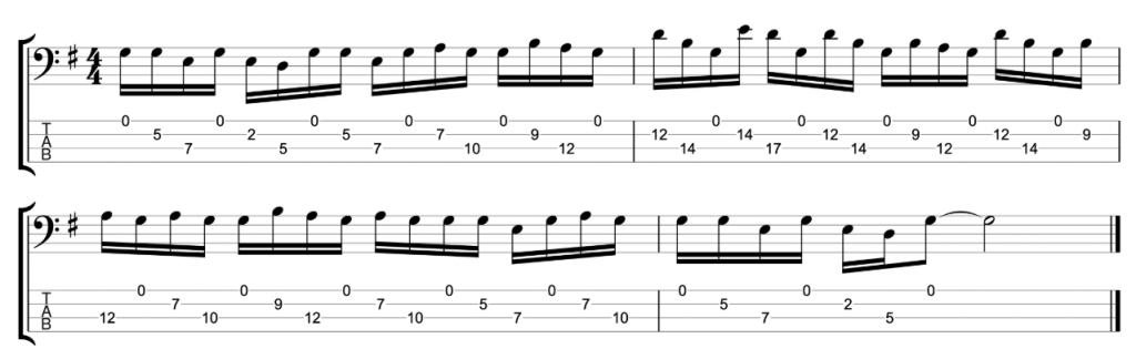 G Major Pentatonic Bass Exercise