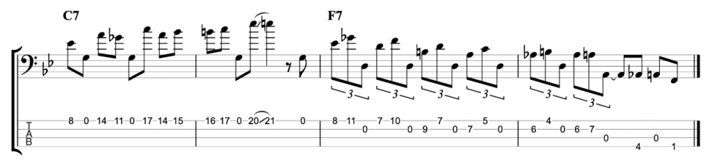Rhythm Changes Jazz Line with Open Strings