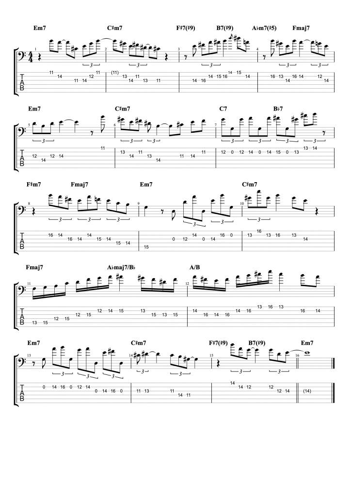 Six String Bass Solo on the changes of John Patitucci's Searching, Finding