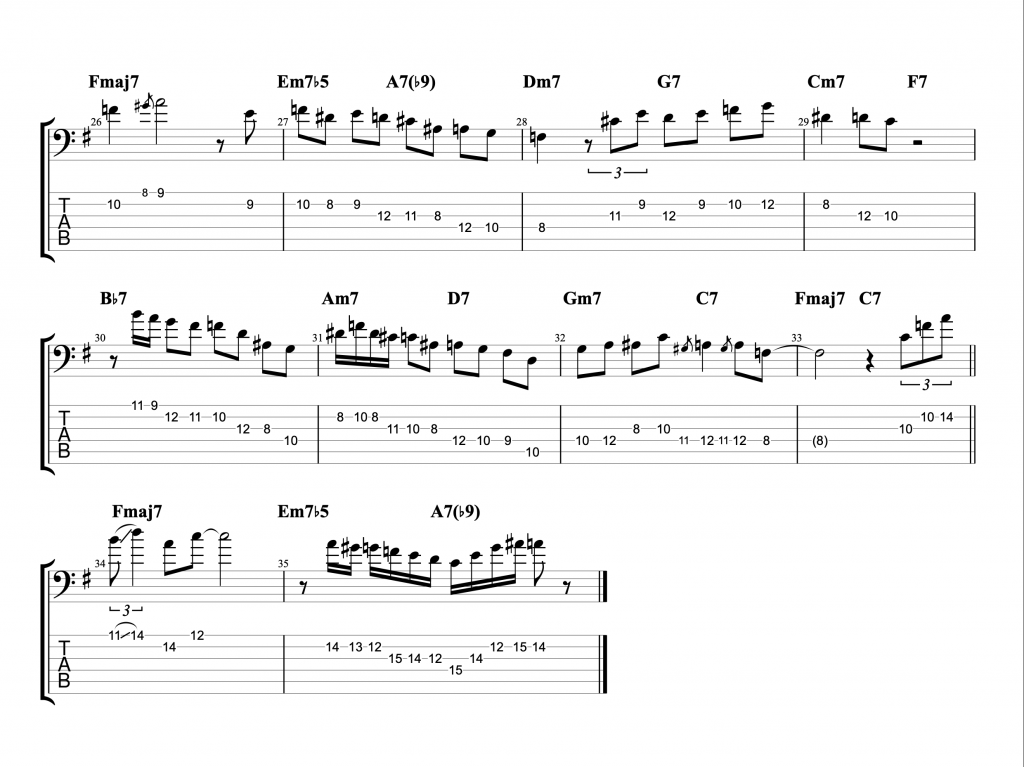 Michael Brecker Confirmation Solo with 6 String Bass TAB page 2