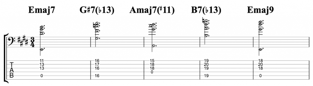 I III7 IV V Chord Progression on Six String Bass