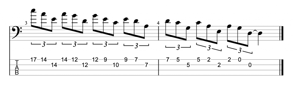 A minor pentatonic triad exercise