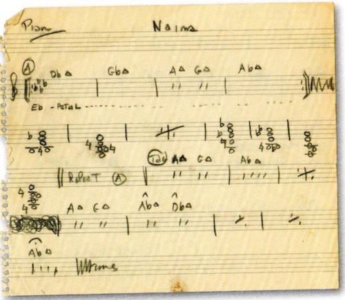 John Coltrane's Handwritten Naima Chords