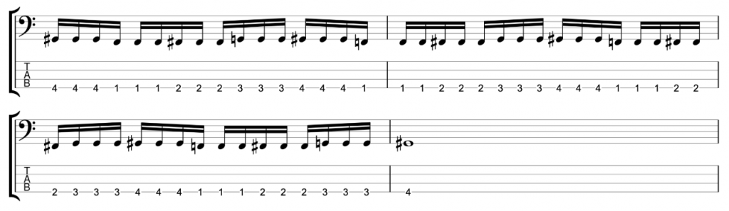 Timing Exercise - 16ths in three note groupings - One finger per fret