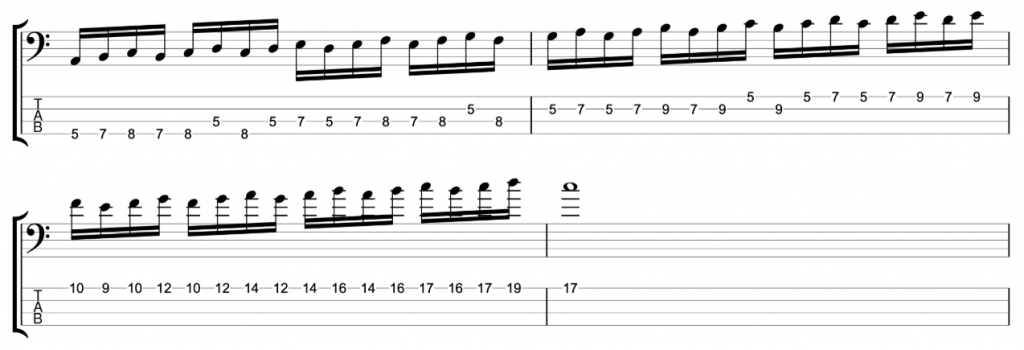 Timing Exercise - 16ths in three note groupings - C major scale ascending