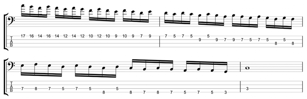 Timing Exercise - 16ths in three note groupings - C major/A natural minor scale descending