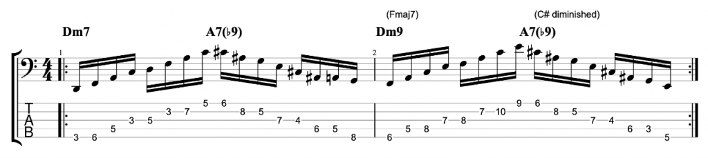 5-string bass exercise 1 - Dm7 - A7b9 arpeggios