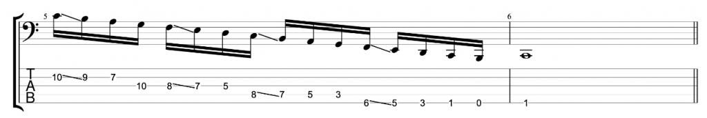 5-string bass exercise 2 - Notes in the key of C major