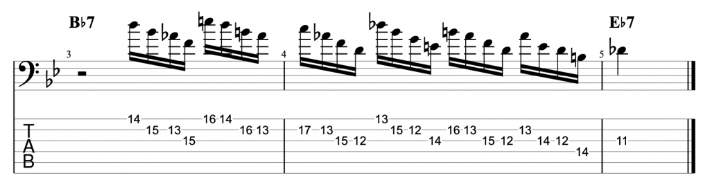Cascading Arpeggio Jazz Blues Lick in Bb