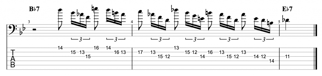 Cascading Arpeggio Jazz Blues Lick in Bb - rhythmic variation