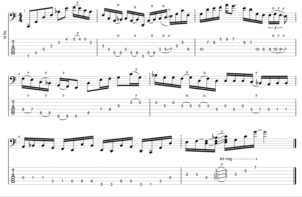 Csus Mixolydian Modal Jazz Line by Rick Beato Arranged for 6-String Bass